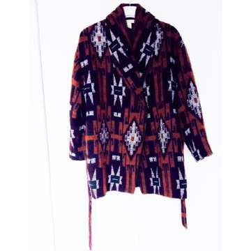 H&M płaszcz etno wełna oversize