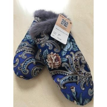 Rękawiczki damskie norka chusta rosyjska
