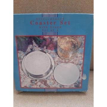 Kpl 6 srebrzonych podkładek pod kieliszki/szklanki