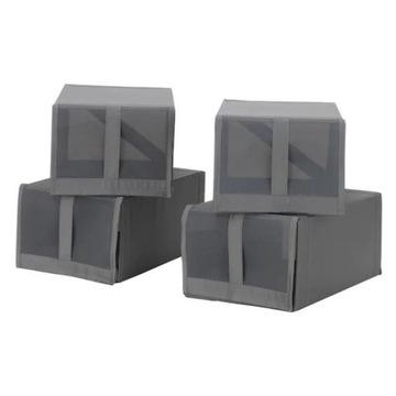 IKEA Pudełko na buty SKUBB 4 szt czarne 2 szt wzór