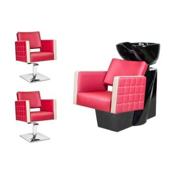 2 x Fotel Fryzjerski + Myjnia Fryzjerska GLAM