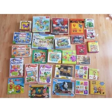 Zestaw 28 gier planszowych i edu., puzzli, książek