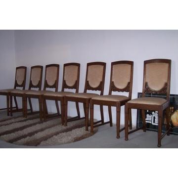 Krzesła dębowe7 szt,secesja z lat 1920.