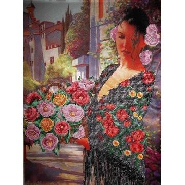 Obraz haftowany - haft koralikowy - Hiszpanka
