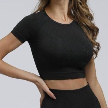 Czarna koszulka sportowa do ćwiczeń na siłownię