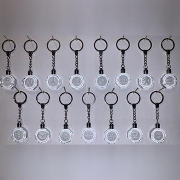 Kryształowe breloczki/LED/różne marki