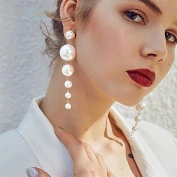 Kolczyki złote długie wieszące z perłami