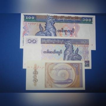 Myanmar/ Birma ,zestaw banknotów 100,10,50, UNC