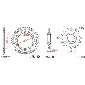 Zębatka CBR 1000 RR 954 929 JTR1306.43 + JTF333.15