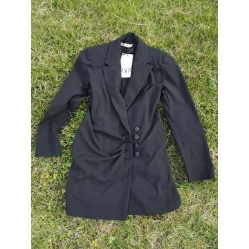 M-L Zara czarna długa marynarka mini sukienka