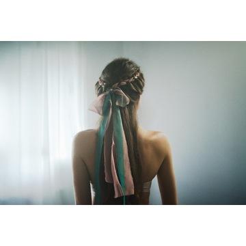 Vintage wstążki szyfonowe do włosów, ręcznie rwane