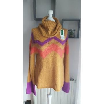 Sweter z golfem damski United Colors of Benetton M