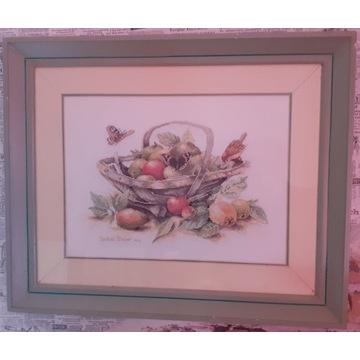 Obraz - Wyszywanka (kosz z owocami)