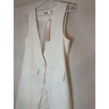 Biała długa elegancka kamizelka