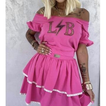 Różowy komplet lola Bianka spódnica LB nowość lato