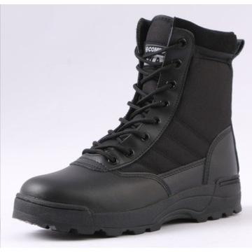 Glany czarne wysoki buty wojskowe