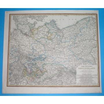 1863 MAPA POLSKI NW POMORZE WIELKOPOLSKA Gdańsk