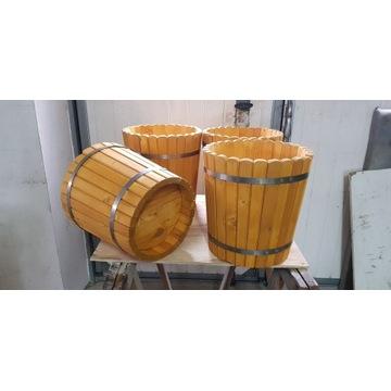 Duże wiaderka drewniane, donice L