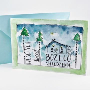 Kartki świąteczne, szopka, ręcznie malowane