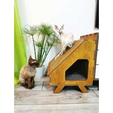 Domek drapak dla kota, budka, legowisko hygge boho