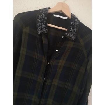 Zara koszula w kratkę z kryształkami M 38