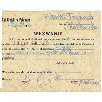 Końskowola (Puławy) - stempel prowizor. z 1946 r.