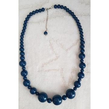 Naszyjnik korale drewniane lakierowane niebieskie