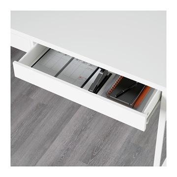 Białe szuflady do biurka Micke, Ikea