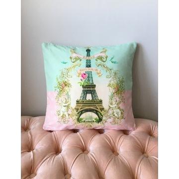 Poszewka na poduszkę różowa 45x45 Wieża Eiffla - N