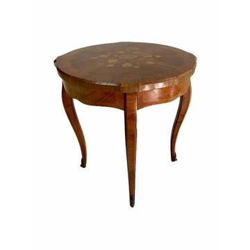 Piękny okrągły stolik kawowy Ludwik XV Francja XIX