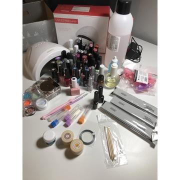 Duży zestaw-manicure hybrydowy/lampa+44 lakiery