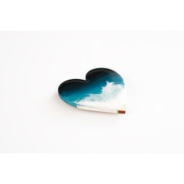 Magnes serduszko z plażą, falami i morzem 5x5 cm