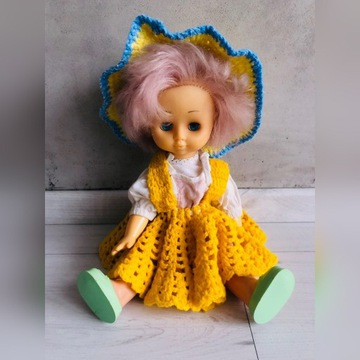 Lalka Vintage PRL Kolekcjonerska duża sukienka buc