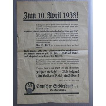 PLAKAT NIEMCY PROPAGANDA ANSCHLUSS AUSTRII 1938