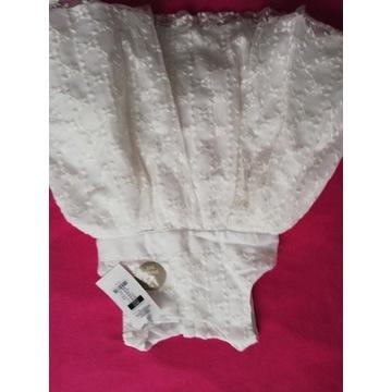 Sukienka NOWA biała z majteczkami Smyk 86 chrzet