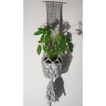 Makrama, kwietnik ze sznurka, kwiaty, rękodzieło