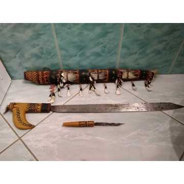 Maczeta afrykańska z nożem stara XX wiek oryginał!