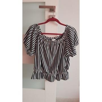 Nowa modna biało czarna bluzka hiszpanka H&M xl