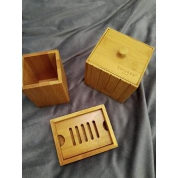 bambus mydelniczka  waciki szczoteczka nowa zestaw