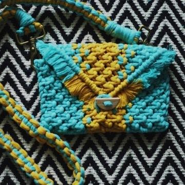 Boho torebka kopertówka ze sznurka makrama