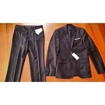 Czarny garnitur slim fit H&M 100% wełna roz 46 32r