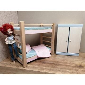 łóżko piętrowe i szafa dla lalek mebelki drewniane