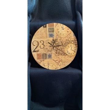 Zegar ścienny, cyfry,rekodzielo,decoupage,handmade