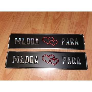 tablice ślubne na auto MŁODA PARA