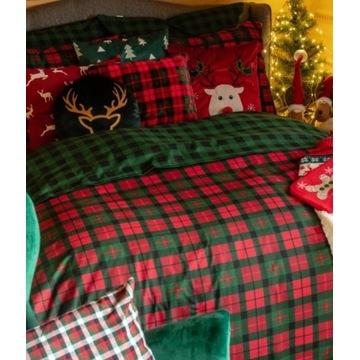 Pościel świąteczna krata 200x220 2x70x80+GRATISY