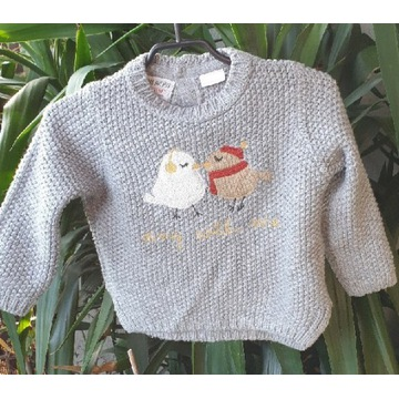 Ciepły sweter z ptaszkami Zara 9-12 miesięcy