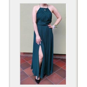 Sukienka maxi butelkowa zieleń z rozcięciem S
