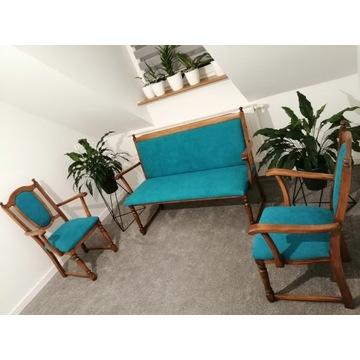 Zestaw, ławka + 2 krzesła. Drewno! Unikat! Vintage