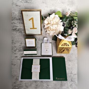 Klasyczne, glamour zaproszenia na ślub HANDMADE