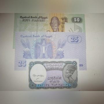 EGIPT -zestaw banknotów 50,25,5, PIASTRES UNC